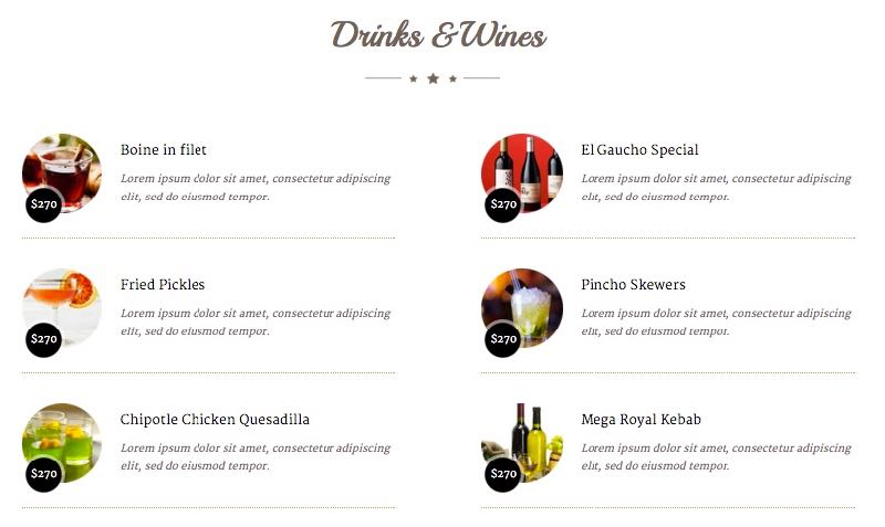 ZT Restaurant Joomla Template - Food Menu List