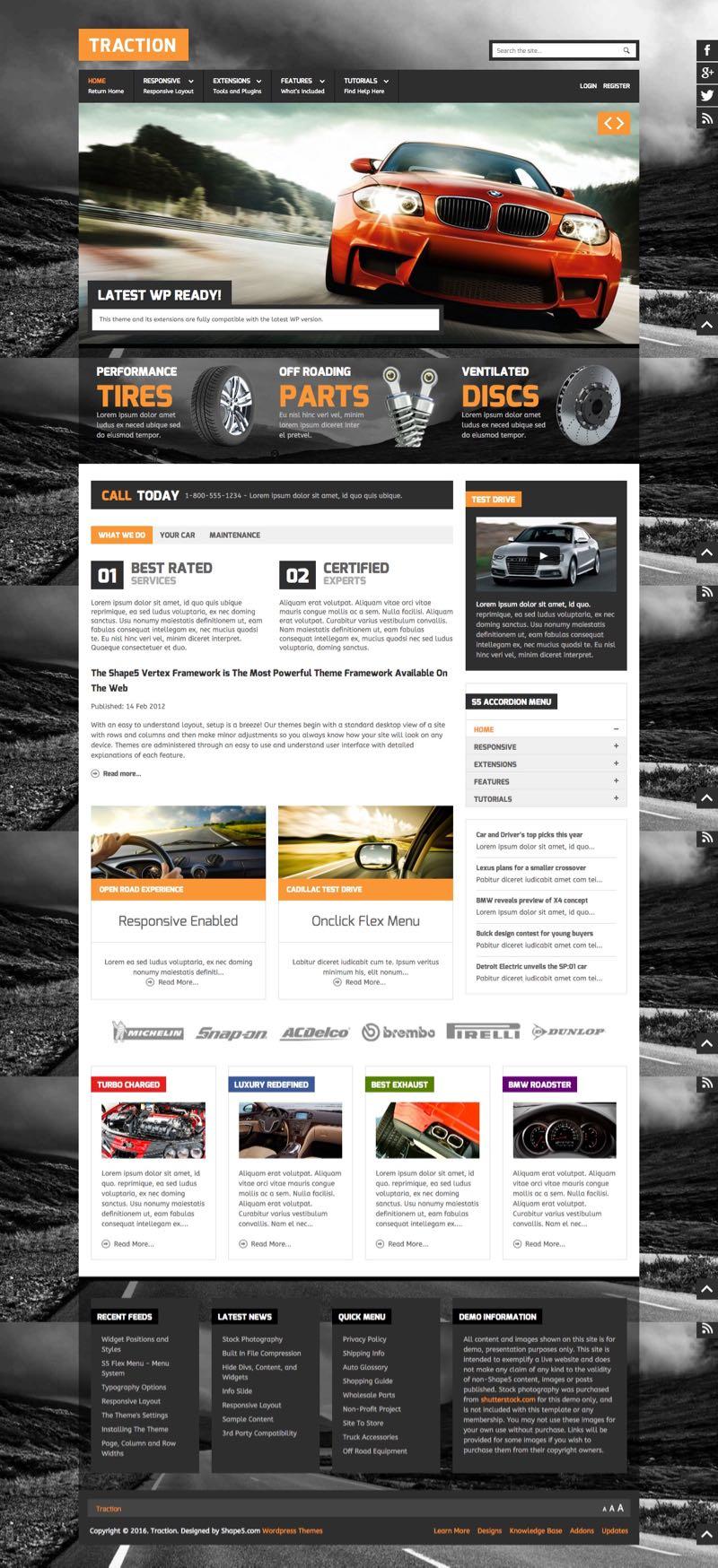 Traction WordPress Garage Theme