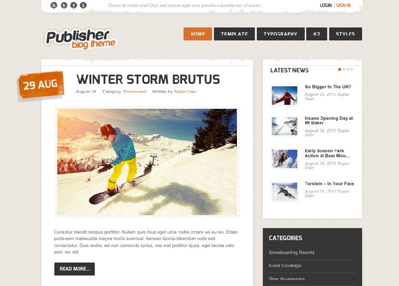 Publisher Joomla Writers Blog Theme