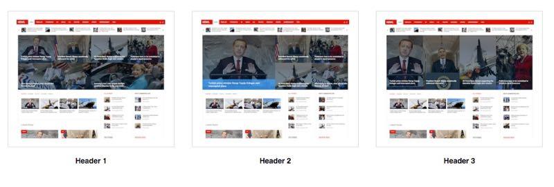 3 Header Style of News Joomla Template