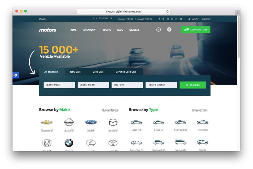 Motors – Car Dealership Directory Listing WordPress Theme