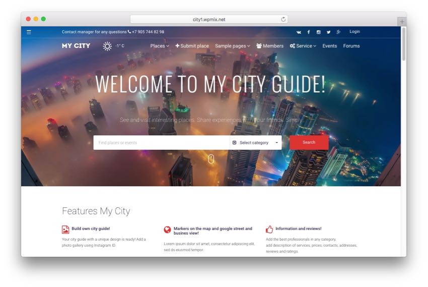 MyCity – Geo Location, Places & Events Directory Listing Theme