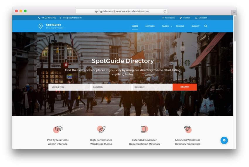 SpotGuide – High-Performance Directory Listing WordPress Theme