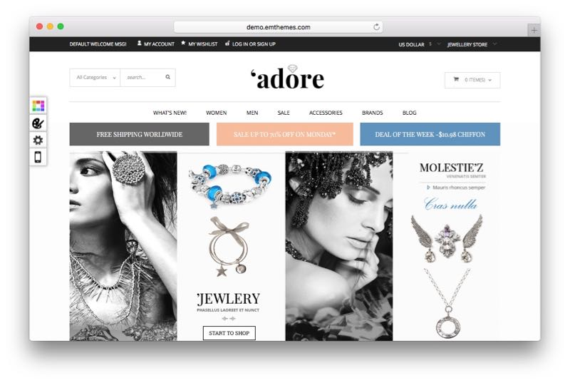 Adore Magento Jewelry, Watches, Bags & Shoes Store Theme