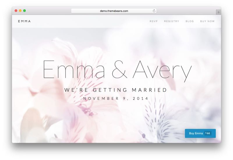 Emma Elegant WordPress Wedding Theme