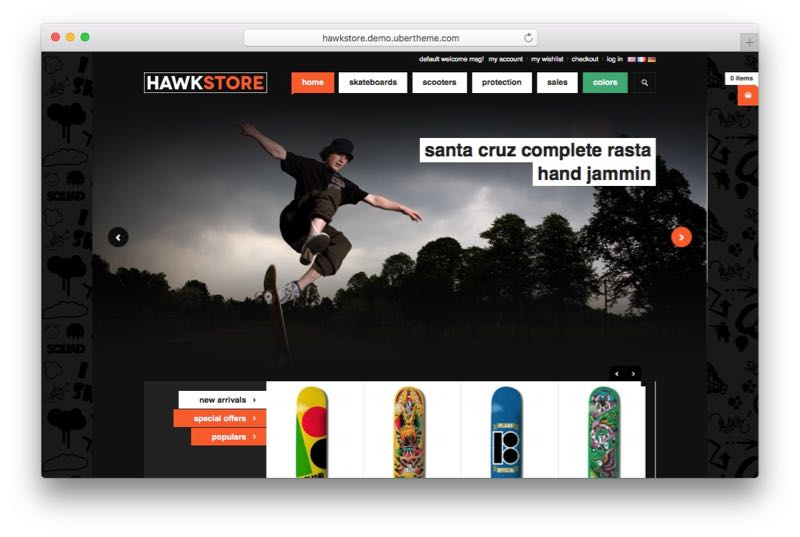 JM Hawkstore Magento Store Theme for Skating Fashion