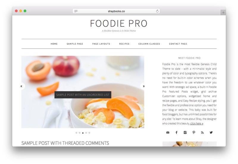 Foodie Pro WordPress Food Blog Theme