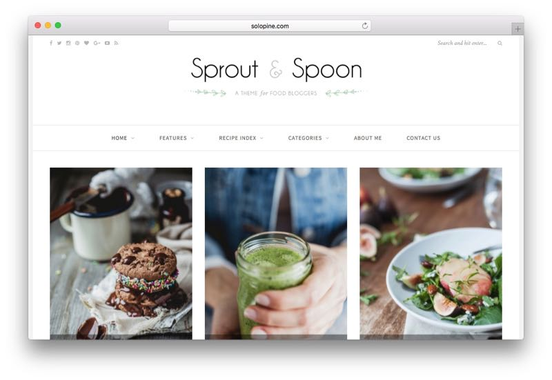 Sprout & Spoon WordPress Food Blogger Theme