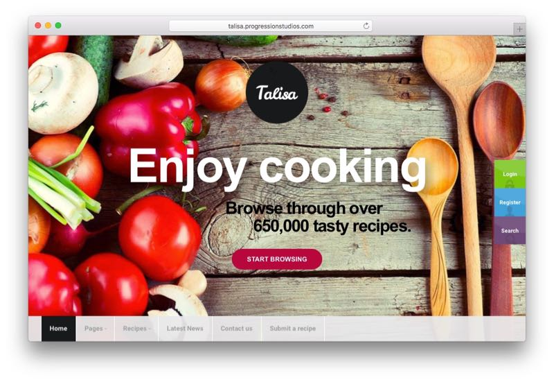 Talisa Food Recipes WordPress Theme