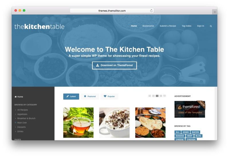 The Kitchen Table Responsive Recipes WP Theme