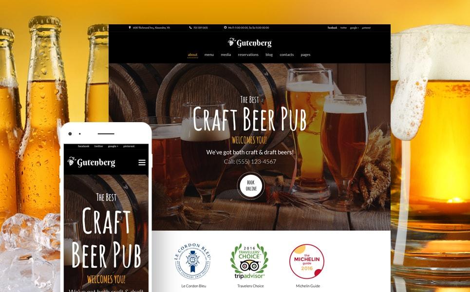 GutenBerg Beer Pub & Brewery WordPress Theme
