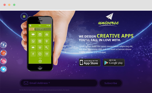 Universe Mobile Apps Joomla Template
