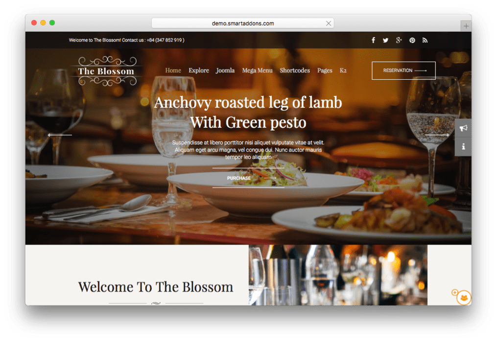 Blossom Restaurants & Food Stores Template