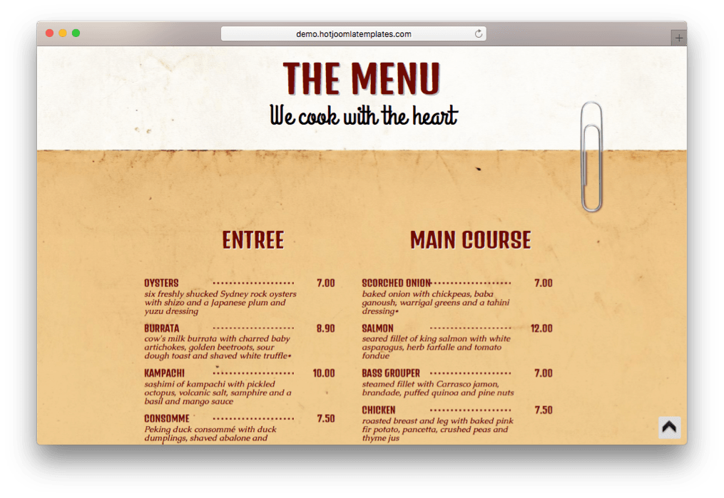 Food Spirit Joomla Template for Pizzerias