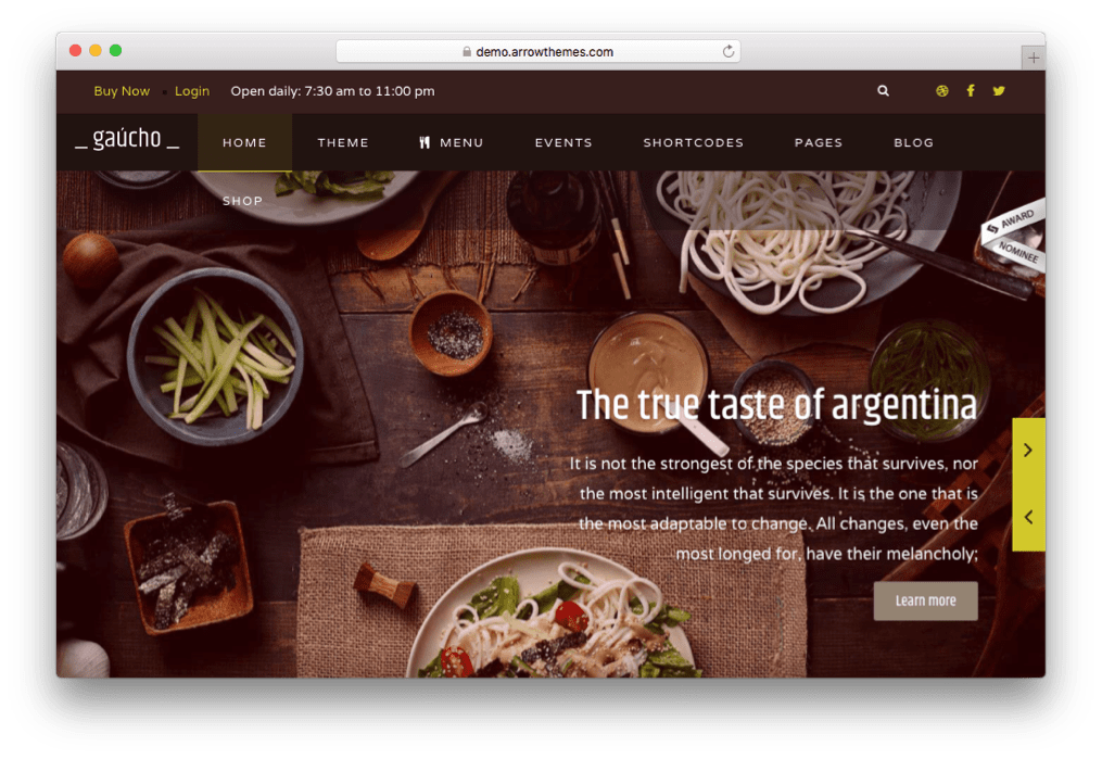 Gaucho Cafe, Food Blog, Restaurant Joomla template