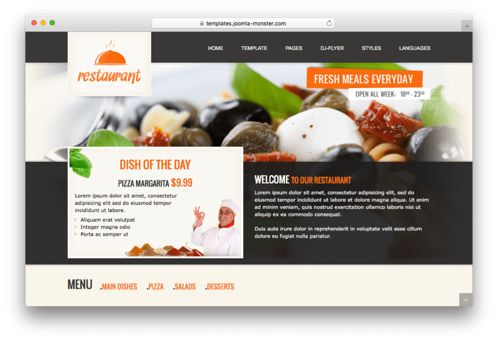 JM Italian Restaurant Template for Joomla