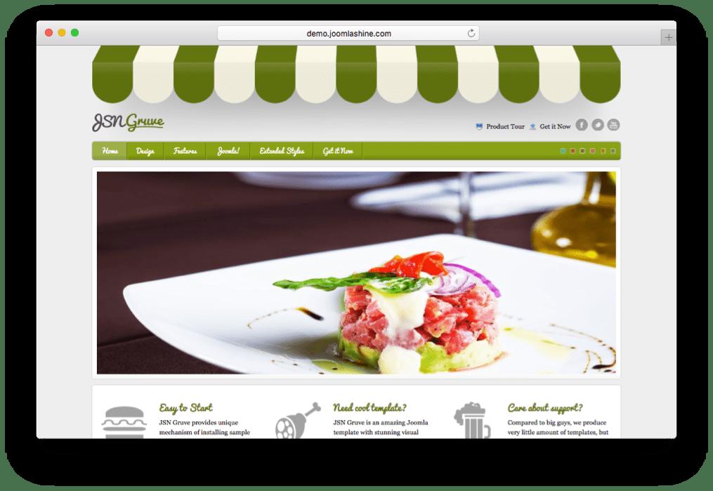 JSN Gruve Joomla Restaurant Template