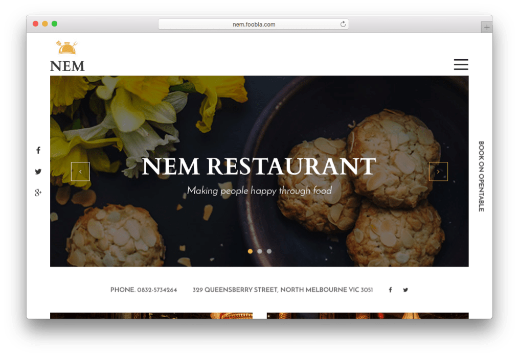NEM Virtuemart Joomla Restaurant Template