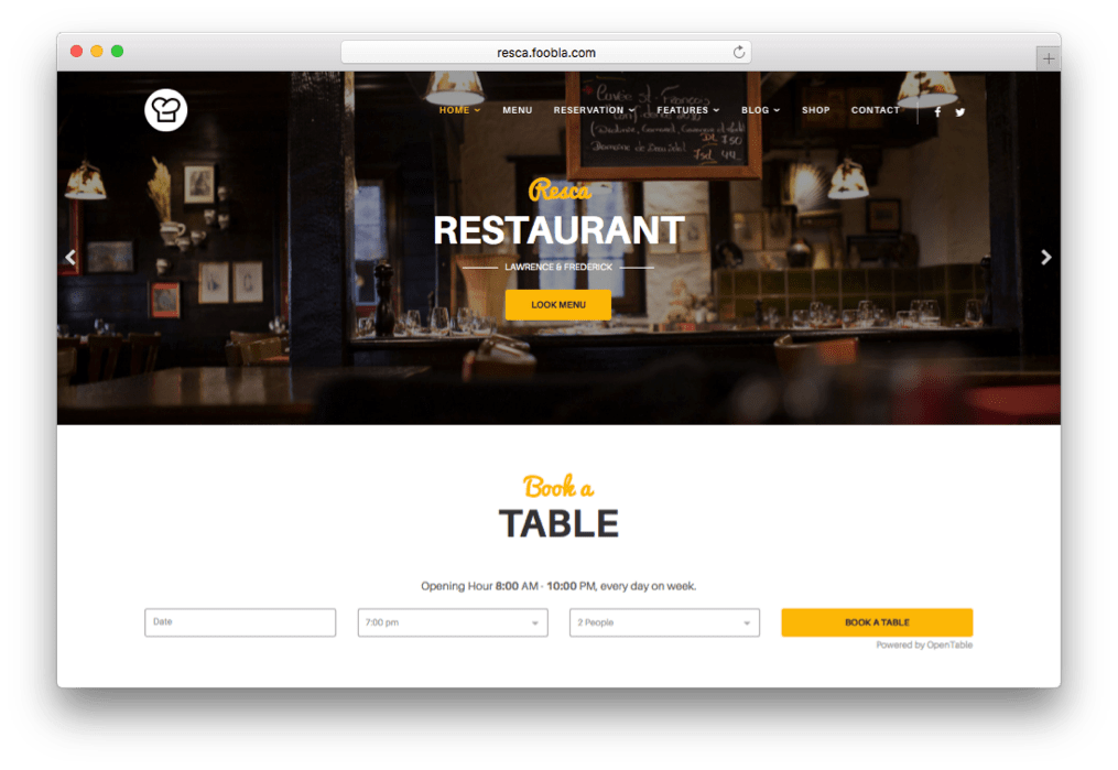 Resca Restaurant & Coffee Shop Template