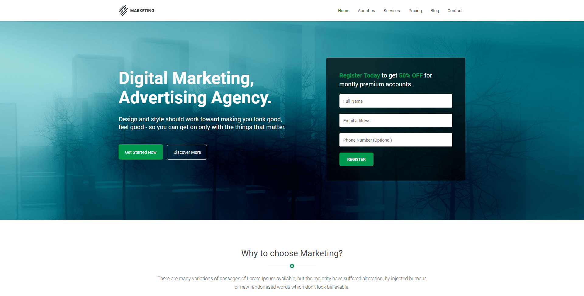 Marketing Startup Landing Page Theme