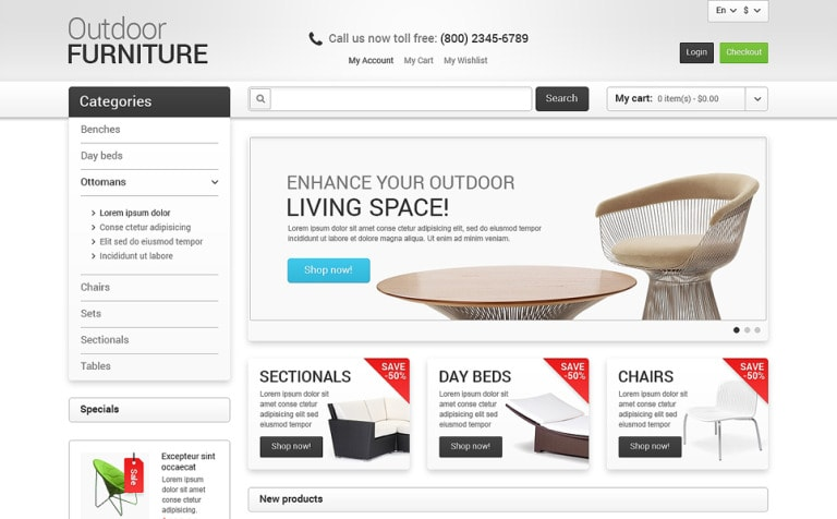 Out Door Furniture Magento Responsive Template