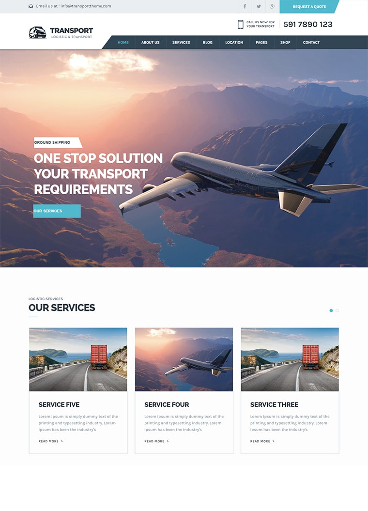 Transport Business WordPress Theme