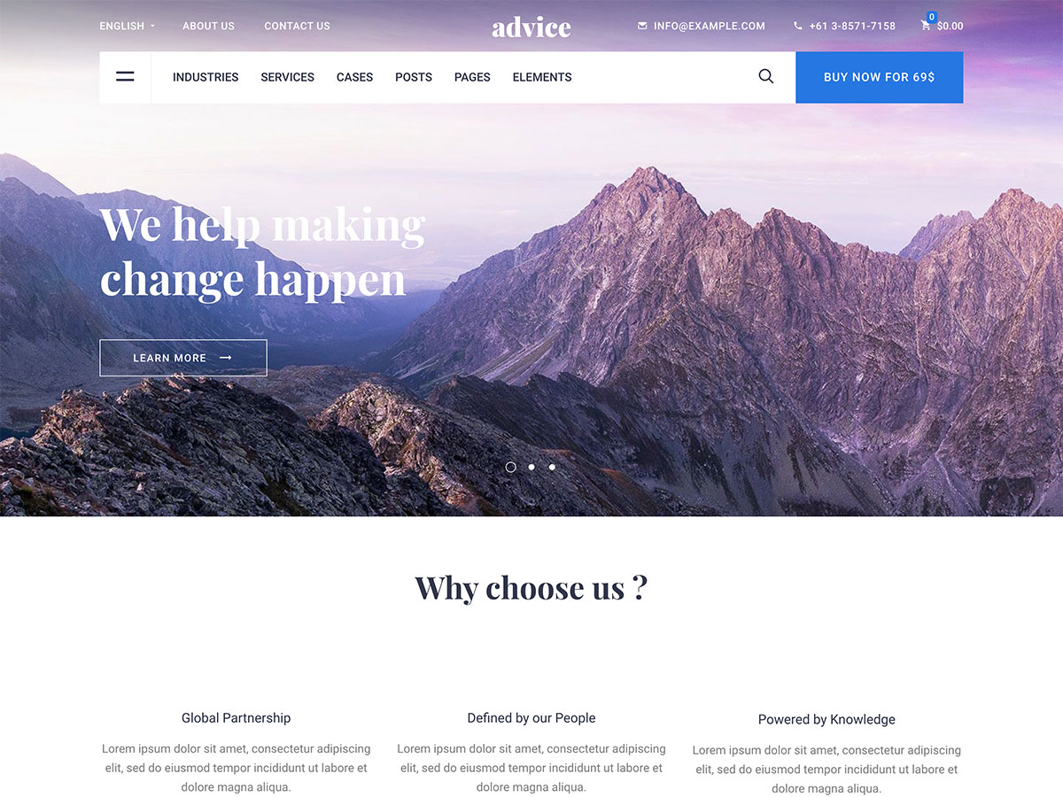 Advice Corporate Business WordPress Theme