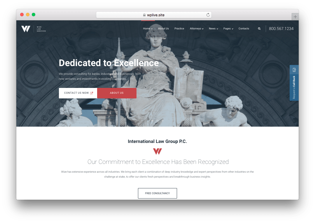 WizeLaw WordPress Lawyer Attorney Theme