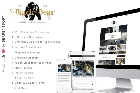 Blackbear WordPress Instagram Blog Theme