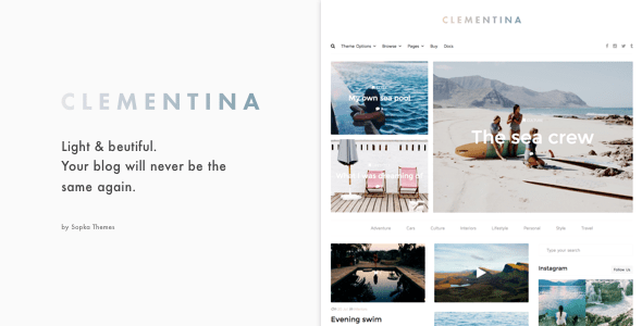 Clementina Fashion Travel Lifestyle Blog Theme