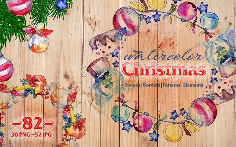 Christmas Balls Toy PNG Watercolor Set Illustration