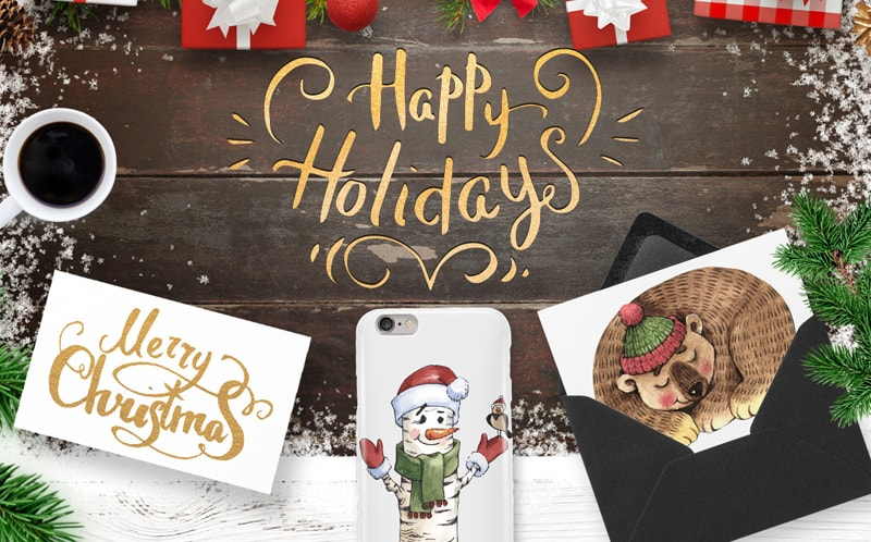 Merry Christmas and Happy Holidays Illustration